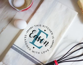 Monogram Kitchen Towel - Personalized Kitchen Towels - Monogram Gift Ideas - Kitchen Gifts - Personalized Mothers Day Gifts - Teacher Gifts