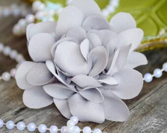 "3 1/2"" Crepe Flowers, Fabric Flowers, Gray Crepe Flowers,  Fabric Flower, Gray Chiffon Flowers, Satin Flowers, Ruffle Flowers, Flowers"