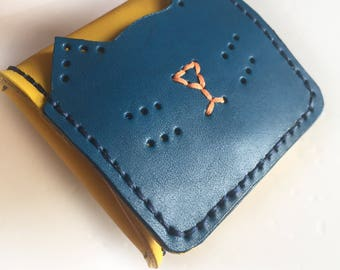 navy blue/yellow-cat-leather wallet-leather purse-purse wallet-coin purses women-coin pouch-for her