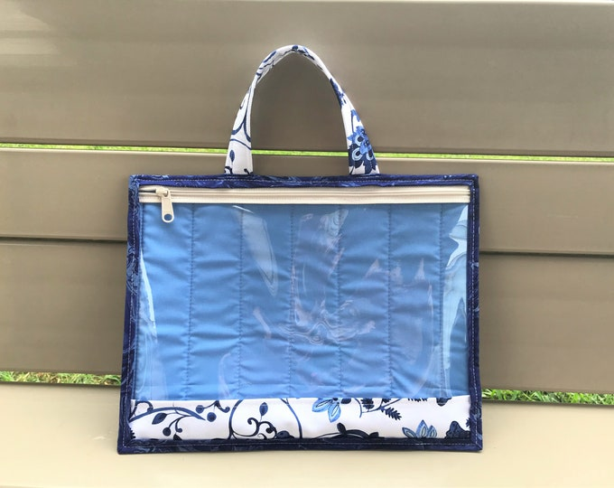 Quilted Blue & White Project Bag