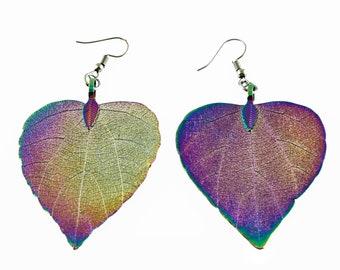 Handmade Natural Leaf Earrings Leaf Earrings Earrings Genuine Leaf Earrings Heart Leaf