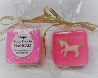 Pink and Gold Unicorn Favors, 12 Soaps, Custom Labels, Any color, DIY bags and ribbons