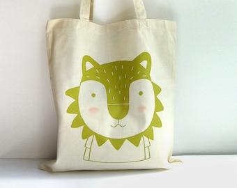 Screen printed Tote bag Lion illustration
