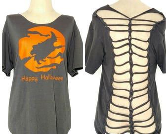 Halloween shredded shirt - Halloween upcycled top - Halloween upcycled shirt - festival shirt - shredded tshirt - weaved Halloween shirt