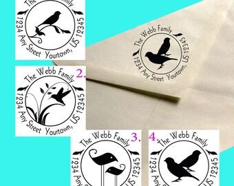 Round Custom Address Stamp - Birds - Handmade by Blossom Stamps