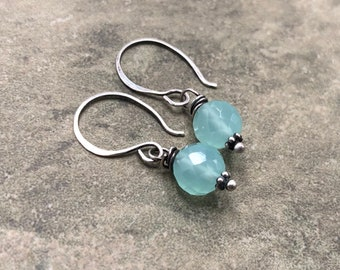 Waterdrop - Chalcedony and Sterling Silver Earrings
