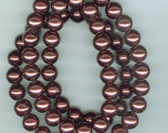 Brown Glass Pearls, 14mm Dark Brown Glass Pearl Round Spacer Beads