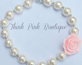 Girls Chunky Necklace, Girls Bubblegum Chunky Necklace,   Bubble Gum chunky girls necklace , Rose Chunky Bead Necklace,Children Necklace.