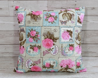 Flower pillow cover, sage green, rose pink pillow, floral pillow cover, 16x16, shabby chic decor, pink flower pillow, decorative cushion