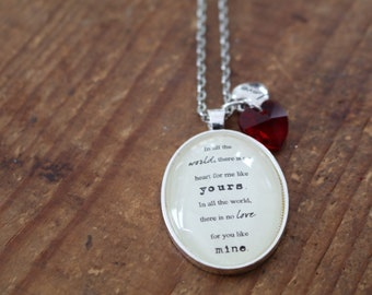 no heart for me like yours Maya literary style necklace