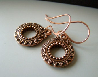 Moroccan Style, antique copper earrings with  bronze earwires