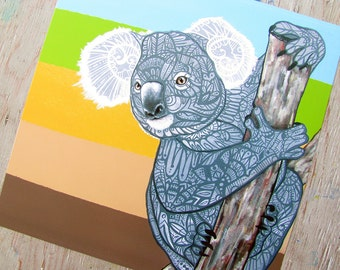 Koala Zentangle Art Print