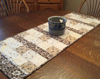 Quilted table runner, table runner, quilted patchwork runner, quilted runner, quilted table linens brown,