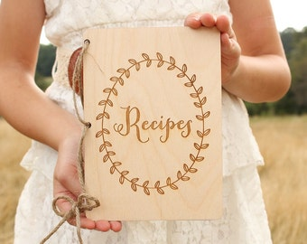 Recipes Notebook Bridal Shower Gift Rustic Recipes Book Wood Recipes Book Laurel Wreath Rustic Kitchen Rustic Wedding Baby Shower Gift