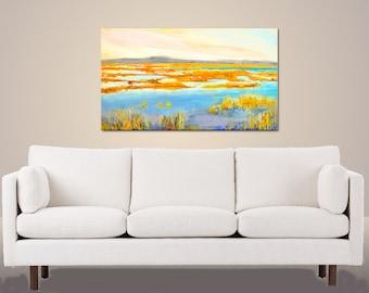 Large landscape on canvas, Large Marsh painting, coastal landscape 24X36,  original oil  Horizontal  Plum island, New England, blue, yellow