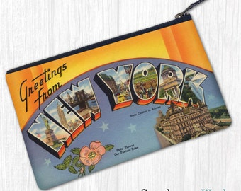 Greetings From NY, Albany—Pouch, Wallet, Wristlet, Coin Purse, Zipper Bag, Clutch, Pencil Case, Makeup Bag