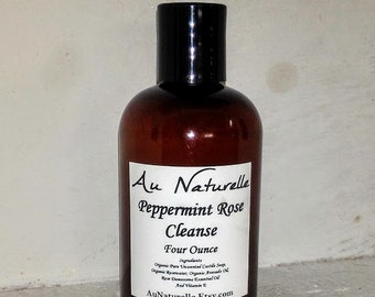 New    -   Peppermint Rose Cleanse    -  All Natural Facial Cleanser  -  Four Ounce   -  All Skin Types  -  Organic Cleanser  -  NEW