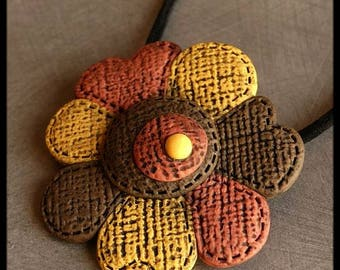 Red old brown yellow flower polymer pendant