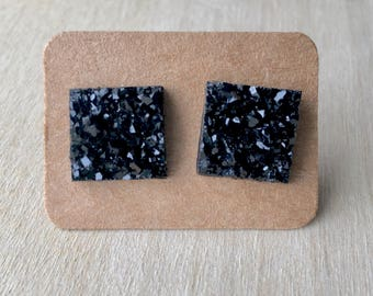 Black Square Earring Studs//Earring Studs//Druzy Earring Studs//Black Druzy Earrings//Square Druzy Earrings//Black Earring Studs//12 MM