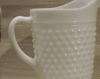 Vintage Hobnail Milk Glass Pitcher by Anchor Hocking