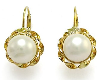 14k Gold 8.5mm White Pearl Leverback Earrings  Available white gold, yellow gold, and rose gold    E505