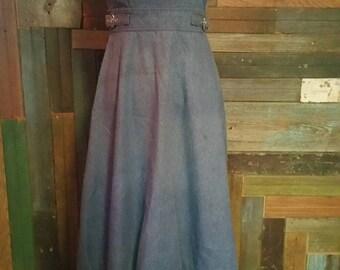 designer Jonathan Logan pinafore denim Jean dress 70s does 30s vintage work wear  apron jumper 1970s small