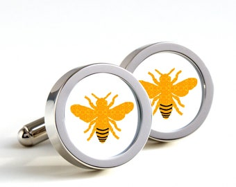 Honeybee Cufflinks - Gift cufflinks, Men's Cufflinks,  Husband, Wedding gift, Novelty cufflinks for him, Honey bee Gifts for bike lover