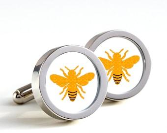 Abeilles boutons de manchette - boutons de manchette en cadeau, boutons de manchettes pour hommes, mari, mariage cadeau, boutons de manchette nouveauté pour lui, Honey bee cadeaux pour les amoureux de vélo
