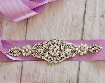 Bridal Sash...Lavender Rhinestone Belt -Flower Girl Sash..Bridal Belt/ Sash..Bridesmaid Coordinating Sashes..Maternity Sash / Wedding Sash