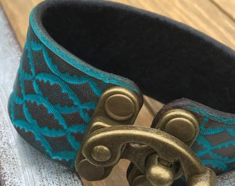 Medium | Turquoise Hand Tooled Leather Cuff Bracelet with Suede
