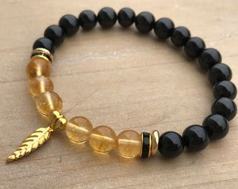 Good luck Bracelet, Citrine bracelet, Black Tourmaline bracelet,Yoga bracelet,boho bracelet,spiritual bracelet, spiritual jewelry