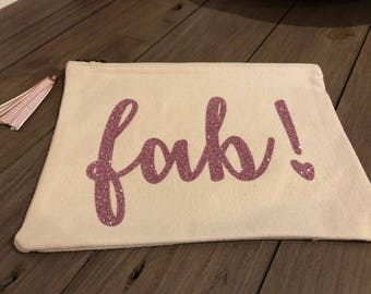 Cool and Sassy Fab! Canvas make up/accessories bag in pink glitter with handmade pink antique brass tassel