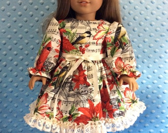 "Winter singing birds print dress fits 18"" American girl dolls and dolls similar to size"