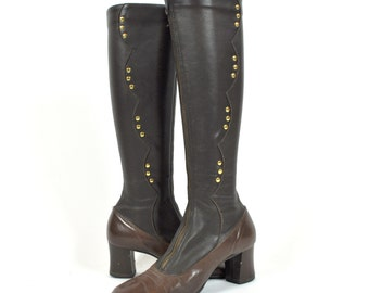 Brown Scalloped Studded 60s GoGo Boots Size 6
