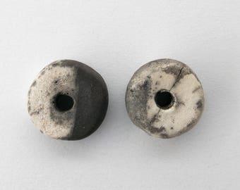 Ceramic bead, Raku, Bohemian, black and white charcoal, x 2