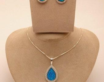 Opal Stone Set Pendant & Earrings in 925 Sterling Silver