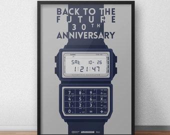 Back To The Future | 1985 Inspired Casio Watch Illustration Movie Illustration Poster Art Minimal Film