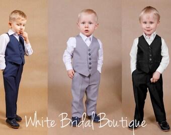 Wedding boy suit Ring bearer outfit Boys suit Wedding boys outfit Ring bearer suit Boys formal wear Boys vest Communion boys suit Grey suit