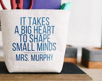 Personalized Gift For Teacher. Linen Desk Basket. Custom Teacher Gift. Teacher Appreciation Day Classroom Storage. End Of Year Mentor Gift