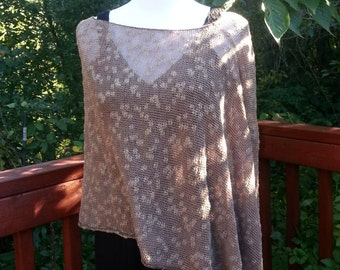 Beige Knitted Women Linen Cotton Poncho. Summer Poncho. Loose knit Boho Poncho. Asymmetric Poncho.
