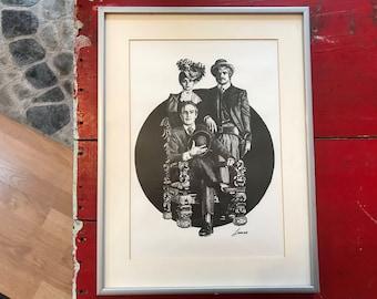 Vintage Glen Fortune Banse Framed Art Lithograph