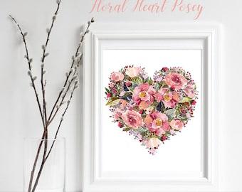 Shabby Chic Roses Art Print, Floral Print Art Decor, Flowers watercolor Heart shaped wall art, nursery floral art, Romantic Rose Printable