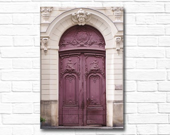 Paris Photography on Canvas - Purple Door, Gallery Wrapped Canvas, Architectural Urban Home Decor,Large Wall Art