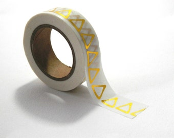 Gold Triangles Golden Geometric Washi Tape 10m x 15mm