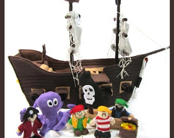 PIRATE SHIP - PDF Ship & Crew Pattern (Ship, Lifeboat, Octopus, Captain, Crew, Treasure Chest)