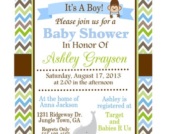 JUNGLE ANIMALS Baby Shower Invitation for Boy/ Personalized Printable Digital File/ Blue, Green, Brown Chevron/ Baby Elephant and Monkey