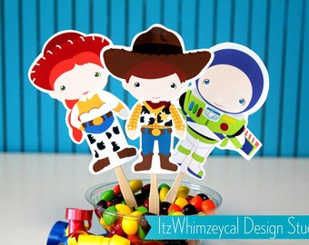 Story Of Cowboy and Robot Toys Die Cut Cupcake Topper (One Dozen)