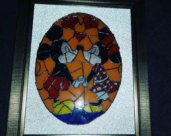Mickey and Minnie Mouse stained glass style picture