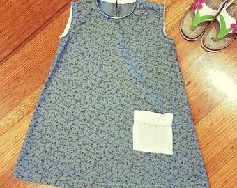 Girls Cotton A Line dress. Sz 3-4.