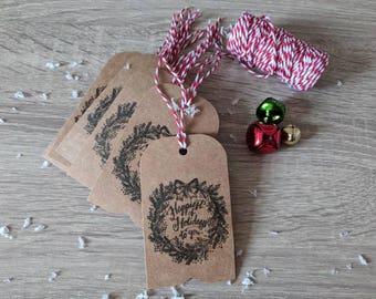 "10x handmade Christmas gift tag, ""Happiest of holidays to you"" Rustic Christmas tags"